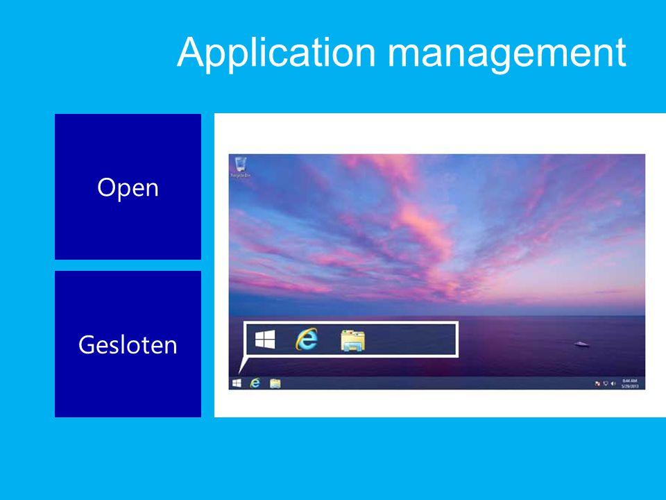 Application management Open Gesloten