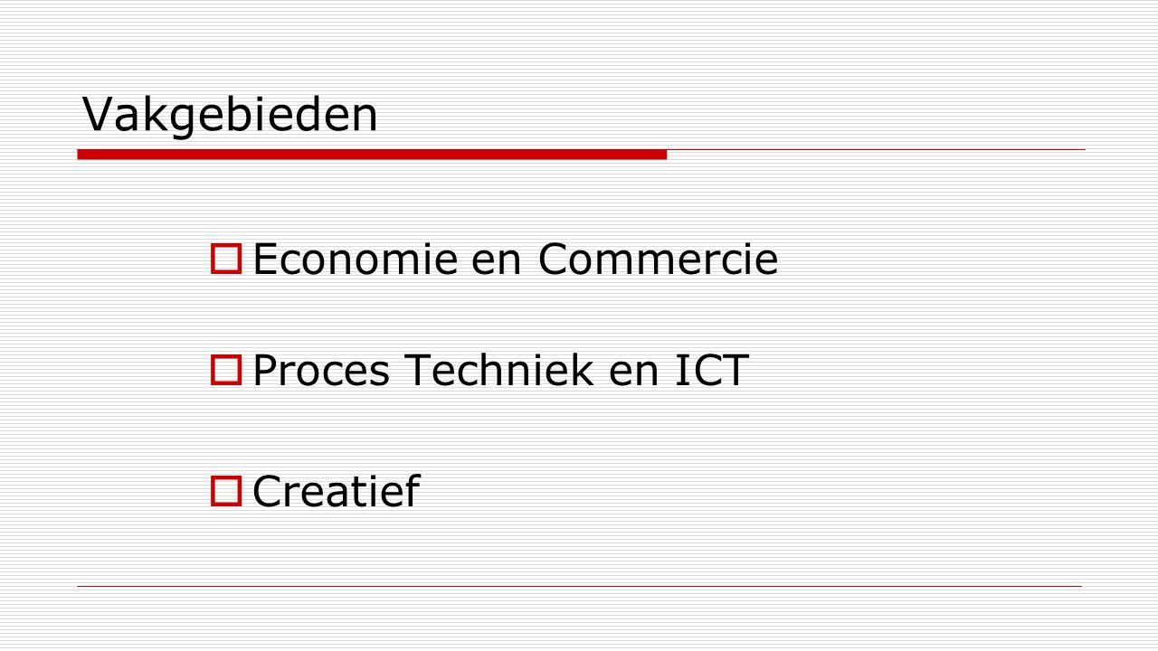 Vakgebieden  Economie en Commercie  Proces Techniek en ICT  Creatief