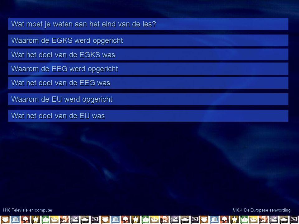 H10 Televisie en computer §10.4 De Europese eenwording Wat moet je weten aan het eind van de les.