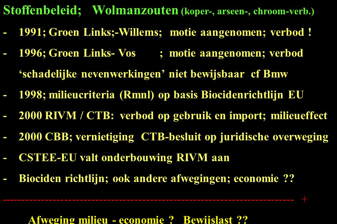 Stoffenbeleid; Wolmanzouten (koper-, arseen-, chroom-verb.) -1991; Groen Links;-Willems; motie aangenomen; verbod ! -1996; Groen Links- Vos ; motie aa