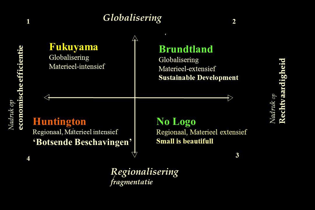 Nadruk op Rechtvaardigheid Globalisering Regionalisering fragmentatie / Fukuyama Globalisering Materieel-intensief 1 Nadruk op economische efficientie
