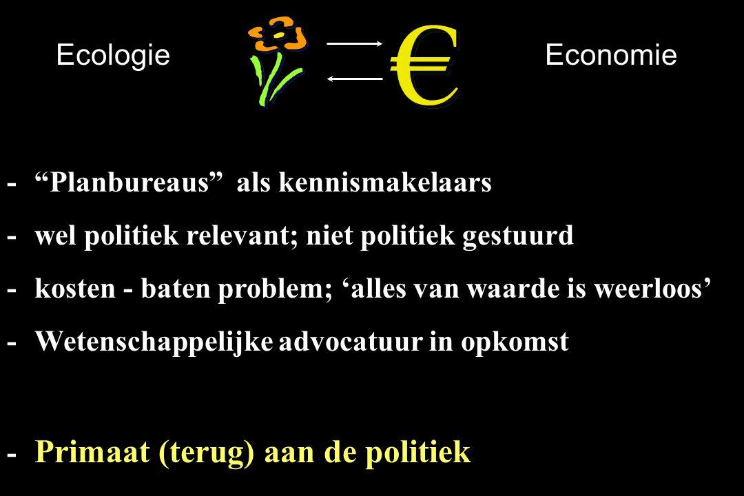 """EcologieEconomie -""""Planbureaus"""" als kennismakelaars -wel politiek relevant; niet politiek gestuurd -kosten - baten problem; 'alles van waarde is weerl"""