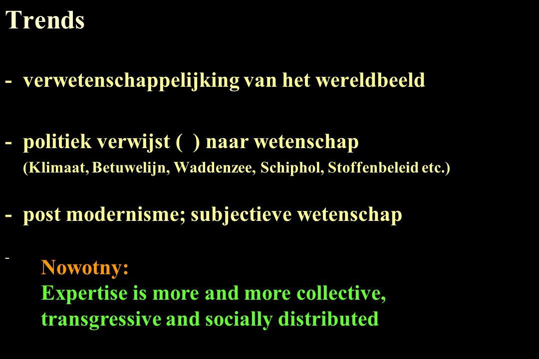 Trends -verwetenschappelijking van het wereldbeeld -politiek verwijst ( ) naar wetenschap (Klimaat, Betuwelijn, Waddenzee, Schiphol, Stoffenbeleid etc