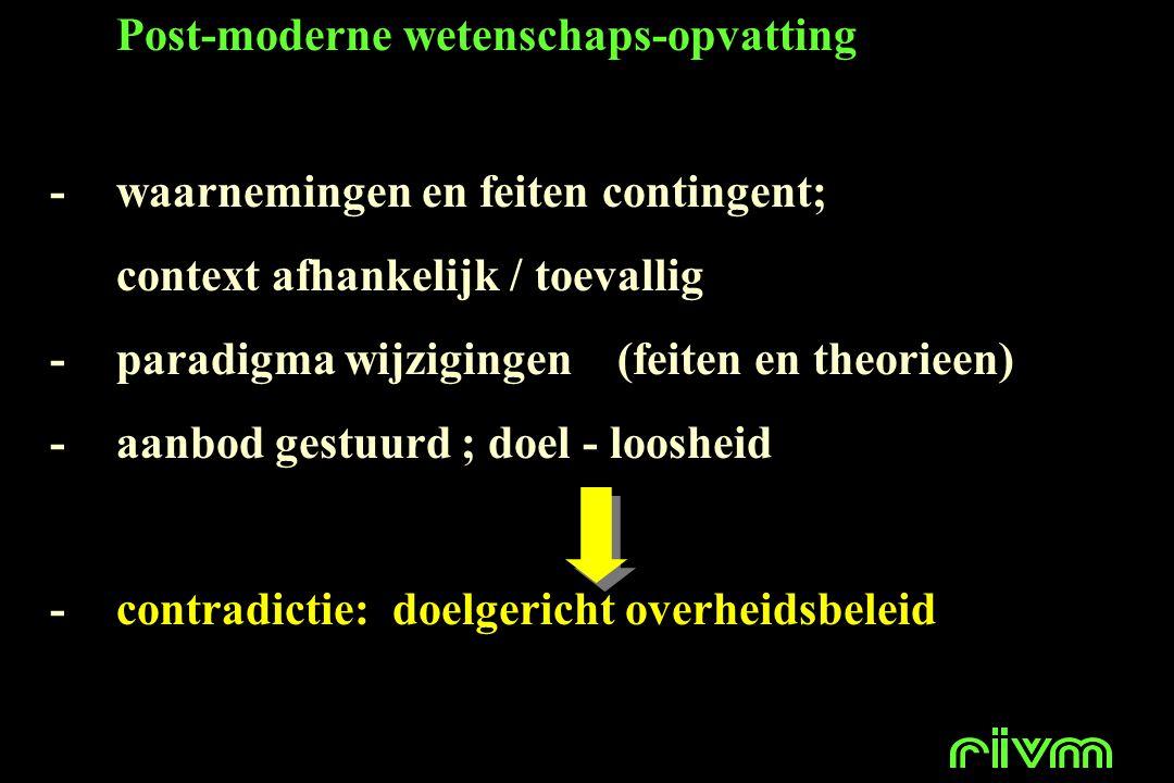 Post-moderne wetenschaps-opvatting -waarnemingen en feiten contingent; context afhankelijk / toevallig -paradigma wijzigingen (feiten en theorieen) -a