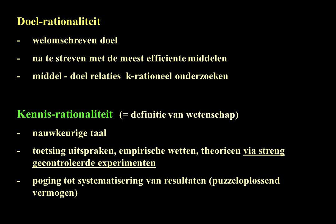 Doel-rationaliteit -welomschreven doel -na te streven met de meest efficiente middelen -middel - doel relaties k-rationeel onderzoeken Kennis-rational