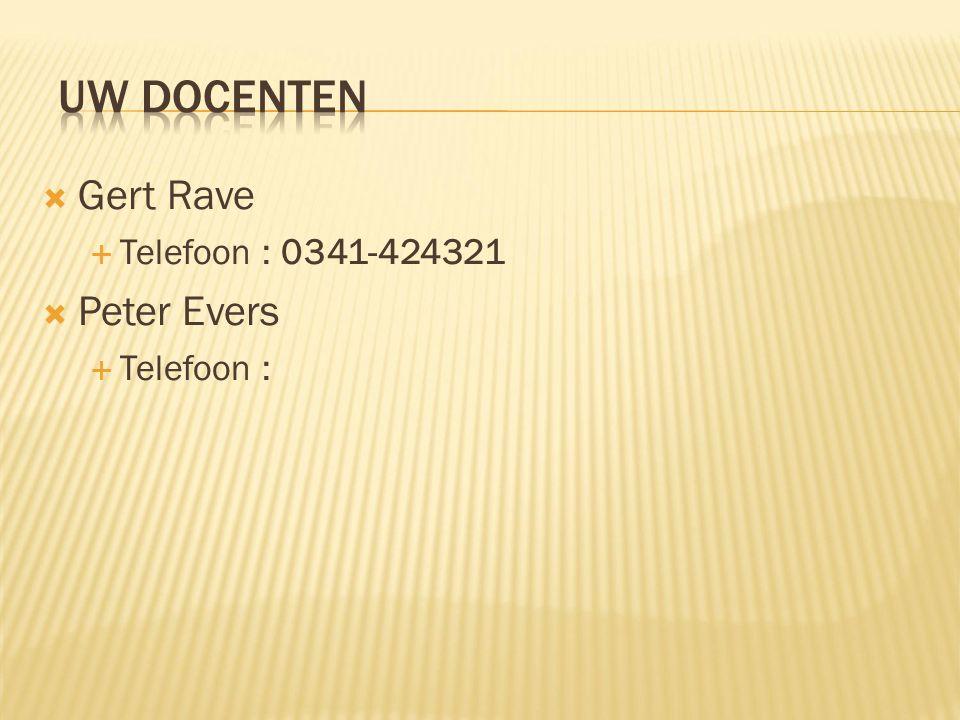  Gert Rave  Telefoon : 0341-424321  Peter Evers  Telefoon :