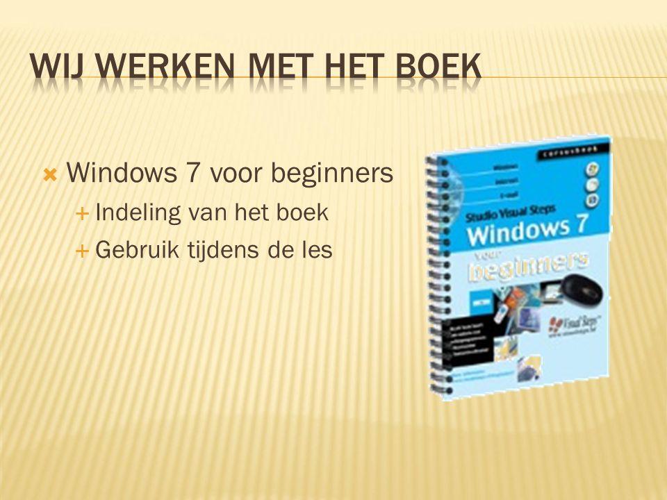  Windows 7 voor beginners  Indeling van het boek  Gebruik tijdens de les