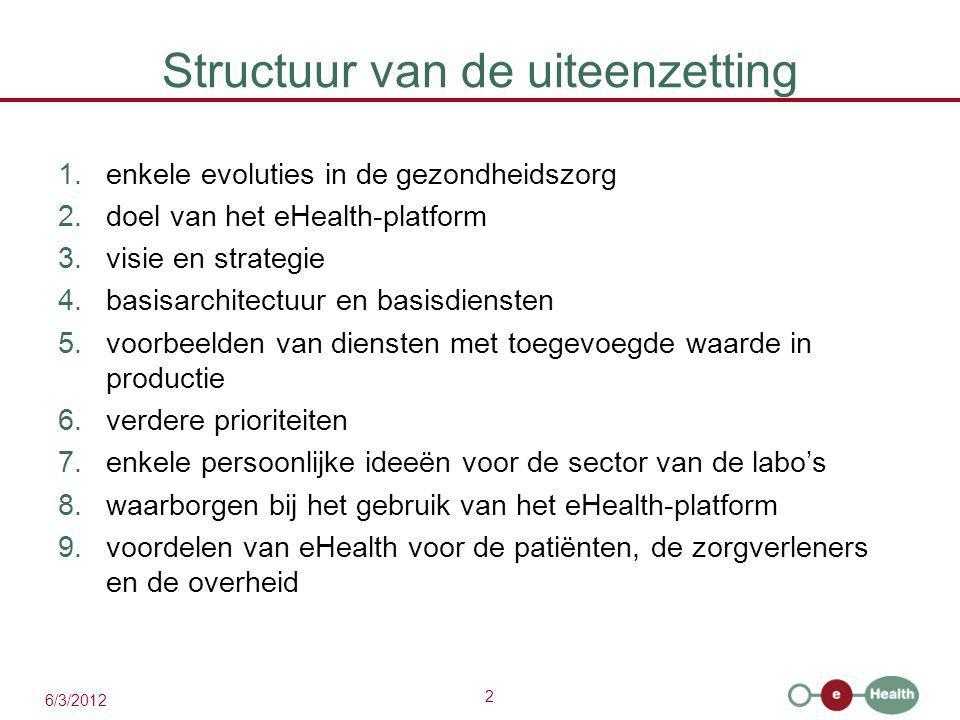 2 6/3/2012 Structuur van de uiteenzetting 1.enkele evoluties in de gezondheidszorg 2.doel van het eHealth-platform 3.visie en strategie 4.basisarchitectuur en basisdiensten 5.voorbeelden van diensten met toegevoegde waarde in productie 6.verdere prioriteiten 7.enkele persoonlijke ideeën voor de sector van de labo's 8.waarborgen bij het gebruik van het eHealth-platform 9.voordelen van eHealth voor de patiënten, de zorgverleners en de overheid