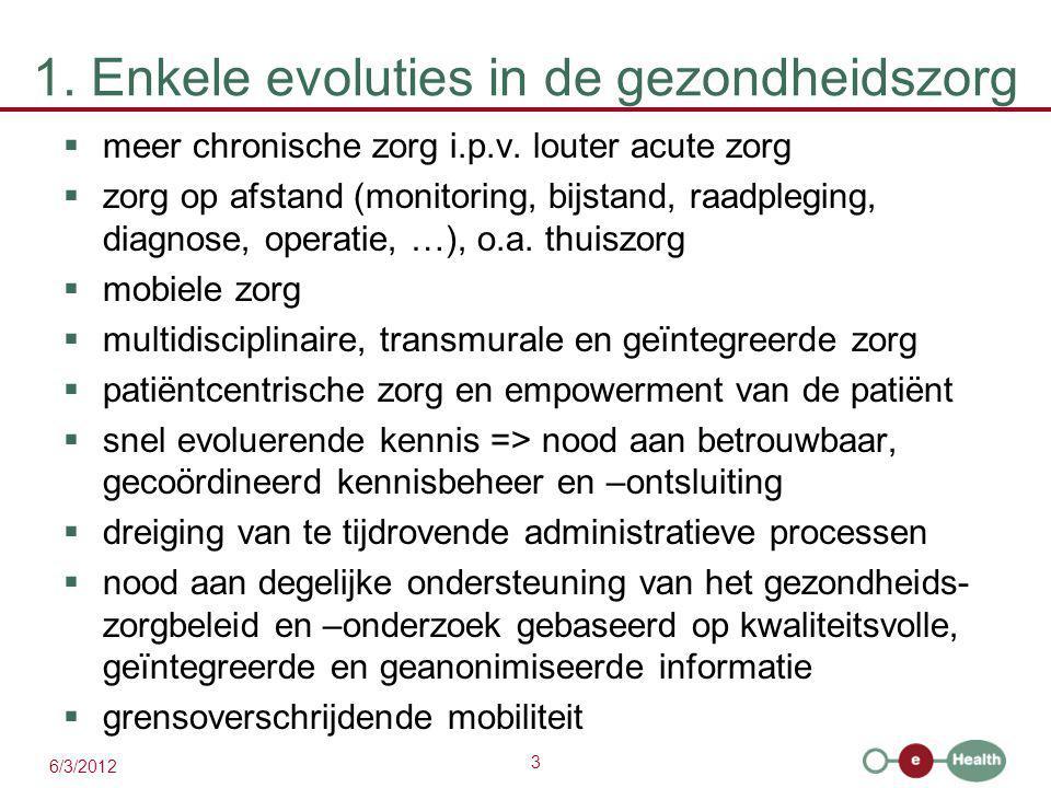 3 6/3/2012 1. Enkele evoluties in de gezondheidszorg  meer chronische zorg i.p.v.