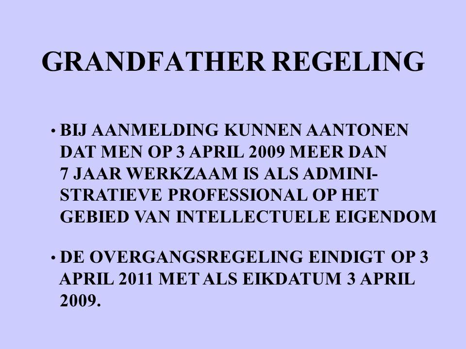 BIJ AANMELDING KUNNEN AANTONEN DAT MEN OP 3 APRIL 2009 MEER DAN 7 JAAR WERKZAAM IS ALS ADMINI- STRATIEVE PROFESSIONAL OP HET GEBIED VAN INTELLECTUELE