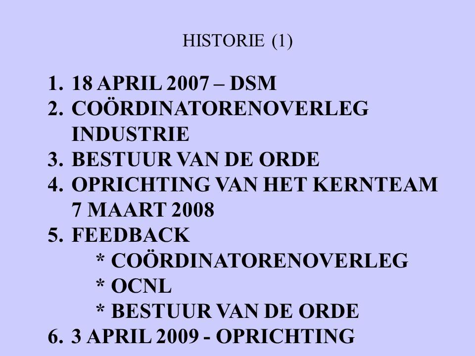 HISTORIE (1) 1.18 APRIL 2007 – DSM 2.COÖRDINATORENOVERLEG INDUSTRIE 3.BESTUUR VAN DE ORDE 4.OPRICHTING VAN HET KERNTEAM 7 MAART 2008 5.FEEDBACK * COÖRDINATORENOVERLEG * OCNL * BESTUUR VAN DE ORDE 6.3 APRIL 2009 - OPRICHTING