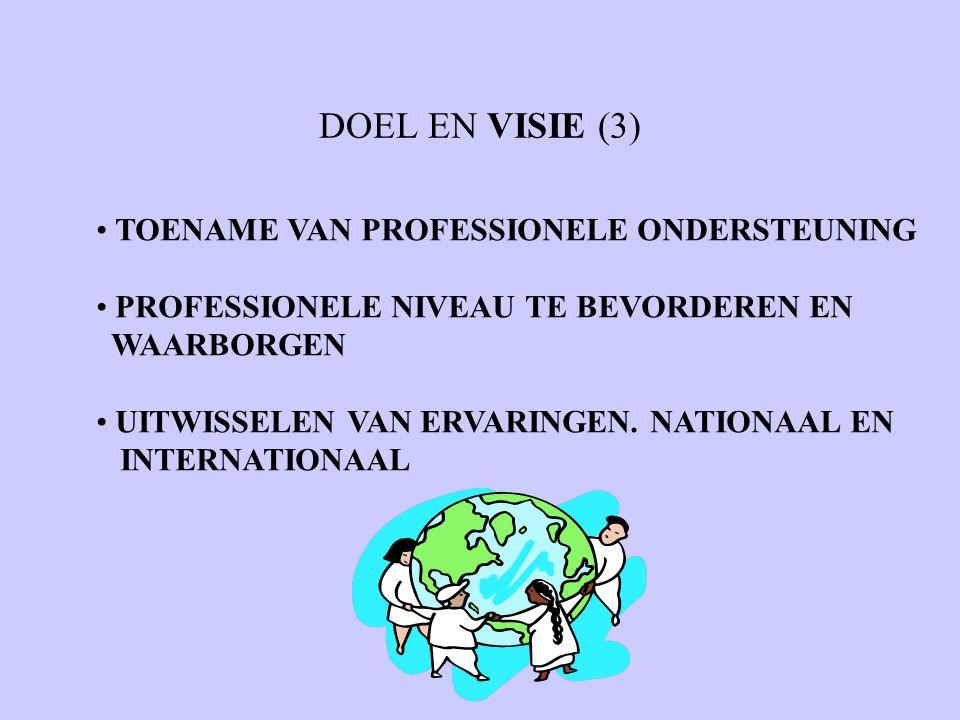 DOEL EN VISIE (3) TOENAME VAN PROFESSIONELE ONDERSTEUNING PROFESSIONELE NIVEAU TE BEVORDEREN EN WAARBORGEN UITWISSELEN VAN ERVARINGEN. NATIONAAL EN IN