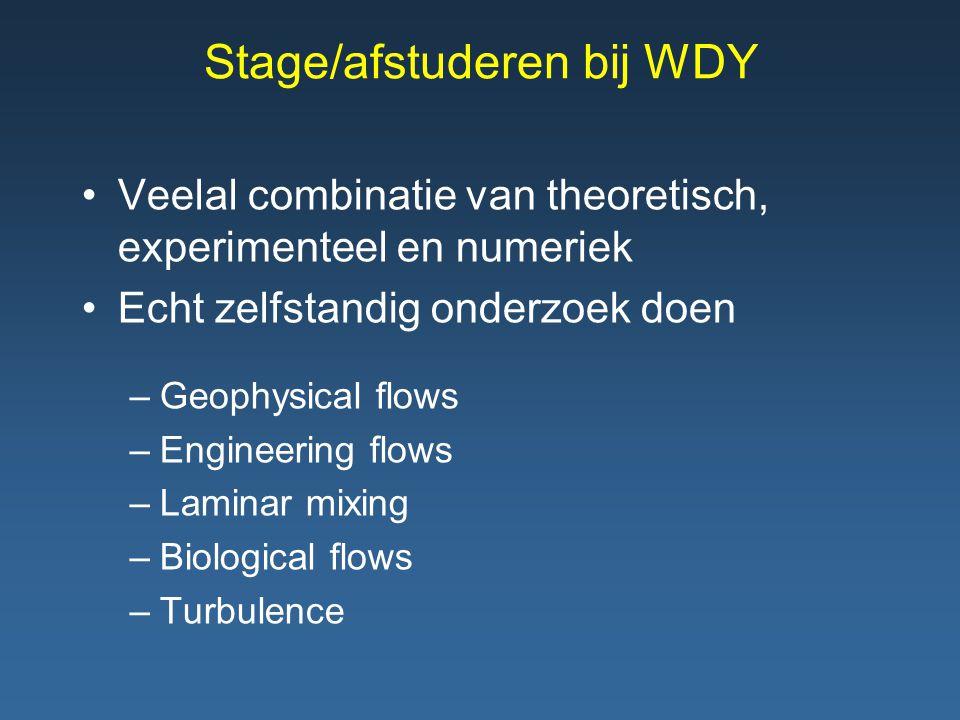 Stage/afstuderen bij WDY Veelal combinatie van theoretisch, experimenteel en numeriek Echt zelfstandig onderzoek doen –Geophysical flows –Engineering flows –Laminar mixing –Biological flows –Turbulence