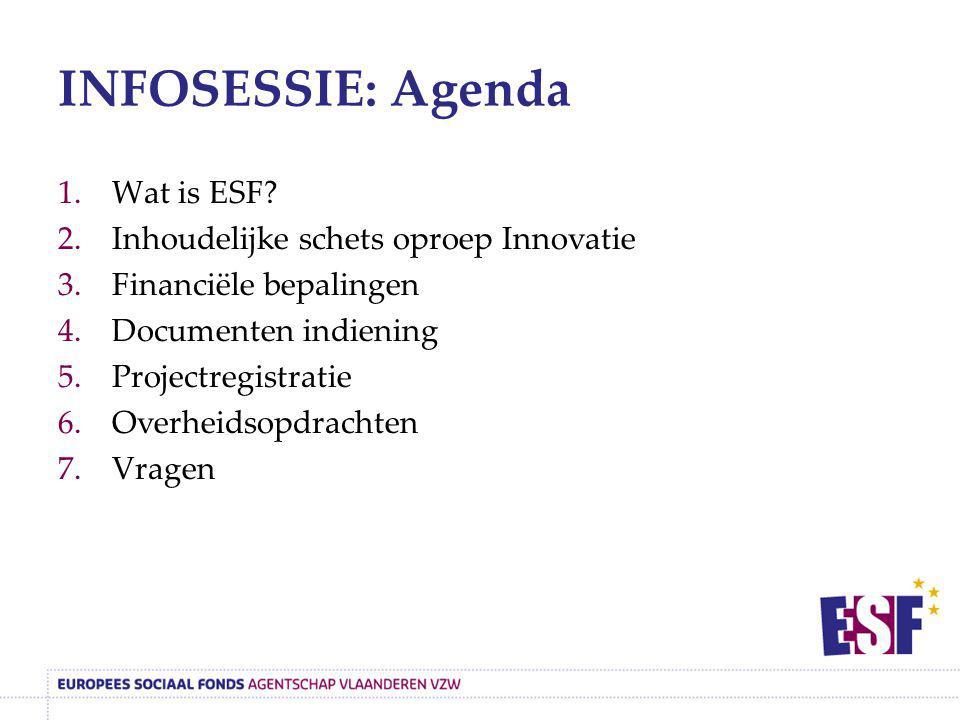 INFOSESSIE: Agenda 1.Wat is ESF? 2.Inhoudelijke schets oproep Innovatie 3.Financiële bepalingen 4.Documenten indiening 5.Projectregistratie 6.Overheid