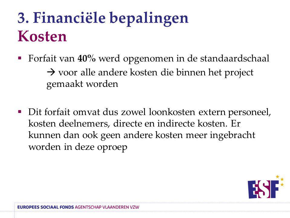 3. Financiële bepalingen Kosten  Forfait van 40% werd opgenomen in de standaardschaal  voor alle andere kosten die binnen het project gemaakt worden