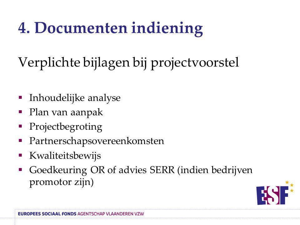 4. Documenten indiening Verplichte bijlagen bij projectvoorstel  Inhoudelijke analyse  Plan van aanpak  Projectbegroting  Partnerschapsovereenkoms