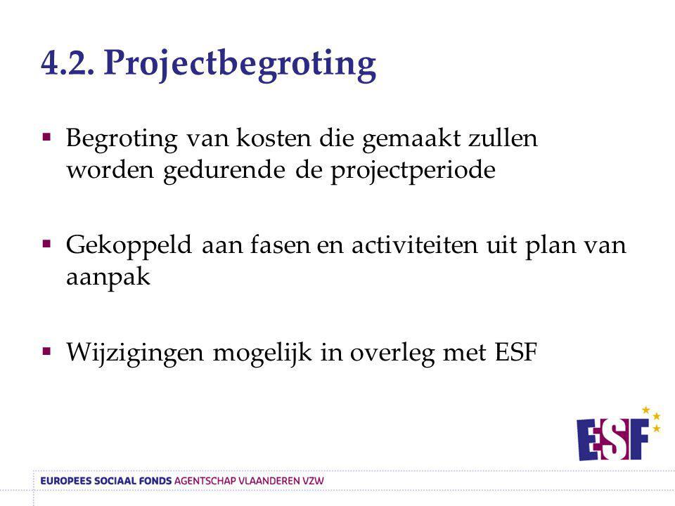 4.2. Projectbegroting  Begroting van kosten die gemaakt zullen worden gedurende de projectperiode  Gekoppeld aan fasen en activiteiten uit plan van