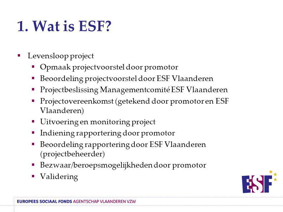 1. Wat is ESF?  Levensloop project  Opmaak projectvoorstel door promotor  Beoordeling projectvoorstel door ESF Vlaanderen  Projectbeslissing Manag
