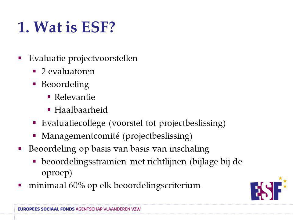 1. Wat is ESF?  Evaluatie projectvoorstellen  2 evaluatoren  Beoordeling  Relevantie  Haalbaarheid  Evaluatiecollege (voorstel tot projectbeslis