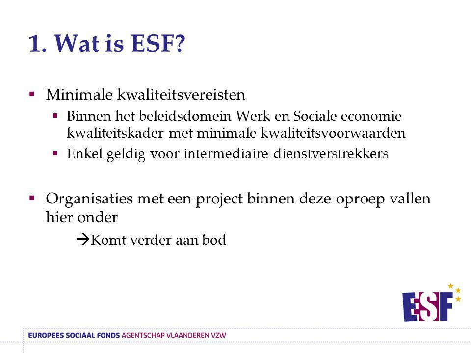 1. Wat is ESF?  Minimale kwaliteitsvereisten  Binnen het beleidsdomein Werk en Sociale economie kwaliteitskader met minimale kwaliteitsvoorwaarden 