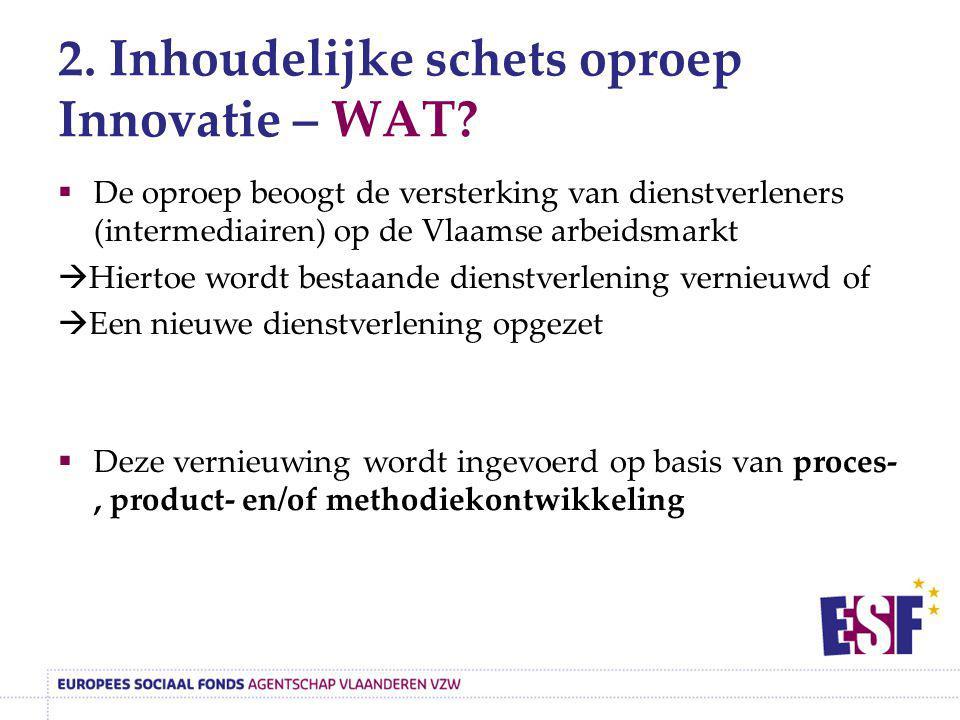 2. Inhoudelijke schets oproep Innovatie – WAT?  De oproep beoogt de versterking van dienstverleners (intermediairen) op de Vlaamse arbeidsmarkt  Hie