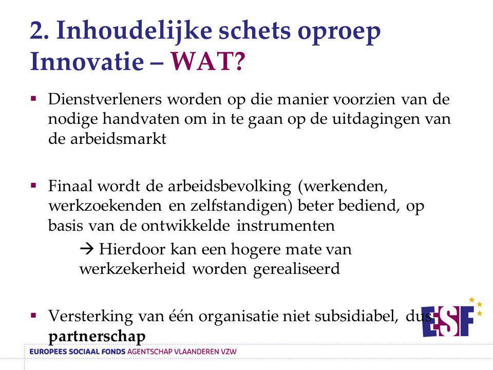 2. Inhoudelijke schets oproep Innovatie – WAT?  Dienstverleners worden op die manier voorzien van de nodige handvaten om in te gaan op de uitdagingen