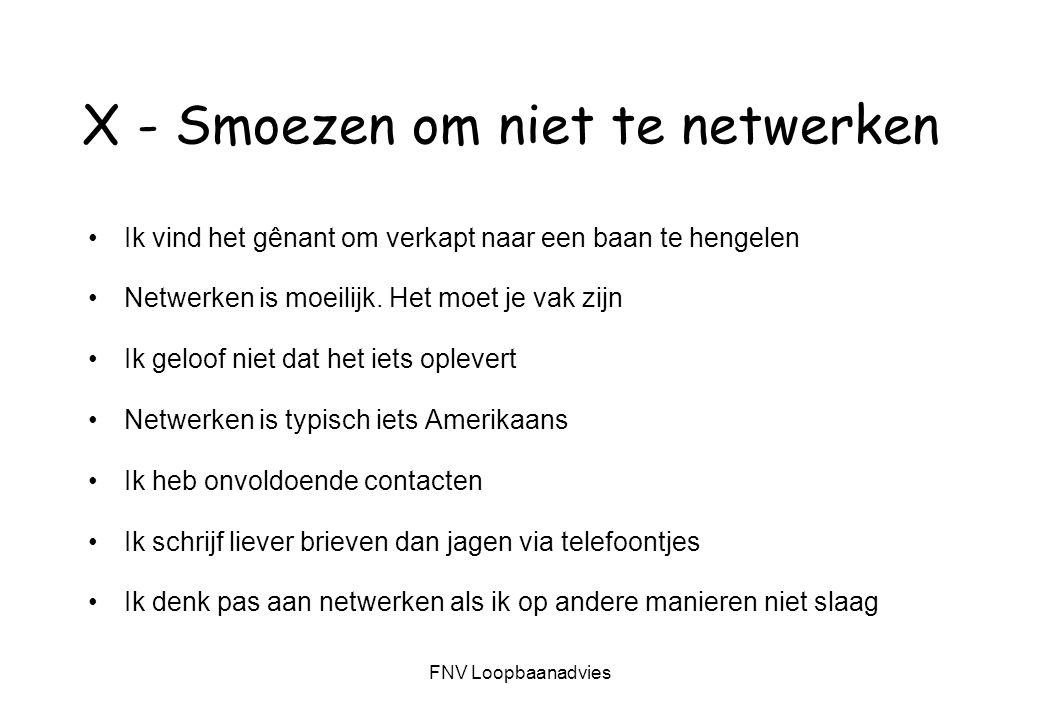 FNV Loopbaanadvies X - Smoezen om niet te netwerken Ik vind het gênant om verkapt naar een baan te hengelen Netwerken is moeilijk.