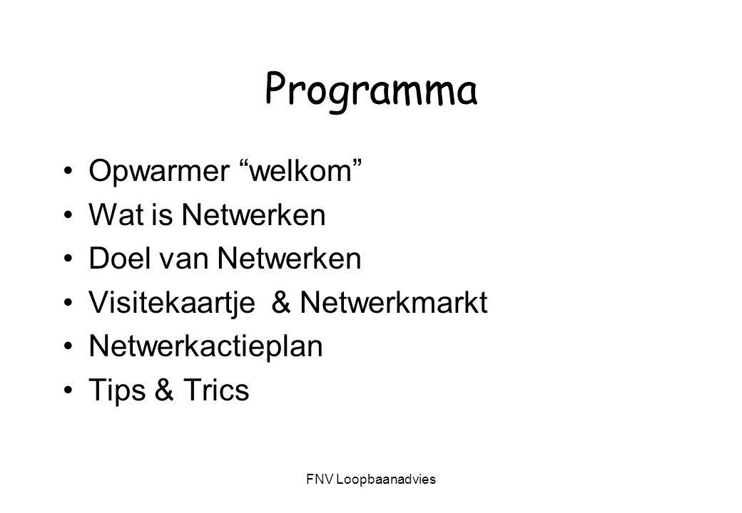 FNV Loopbaanadvies Doel van deze workshop Inzicht krijgen in wat is netwerken Hoe kun je netwerken Doelformulering Netwerk in kaart brengen Elevator pitch; korte presentatie