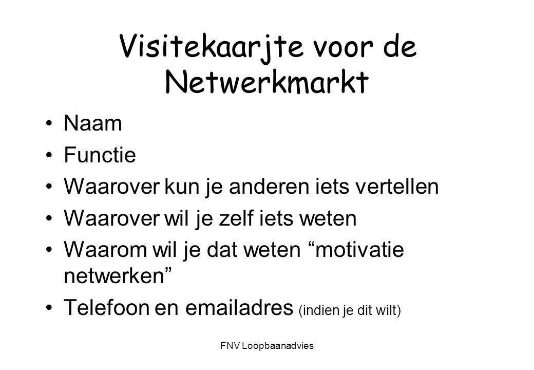 FNV Loopbaanadvies II - Fasen van netwerken Doelen formuleren In kaart brengen van je eigen netwerk Maken van een actieplan Leggen van contacten Onderhouden van contacten