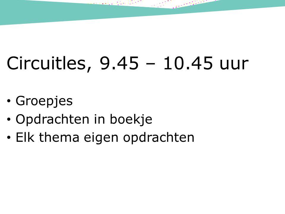 Circuitles, 9.45 – 10.45 uur Groepjes Opdrachten in boekje Elk thema eigen opdrachten