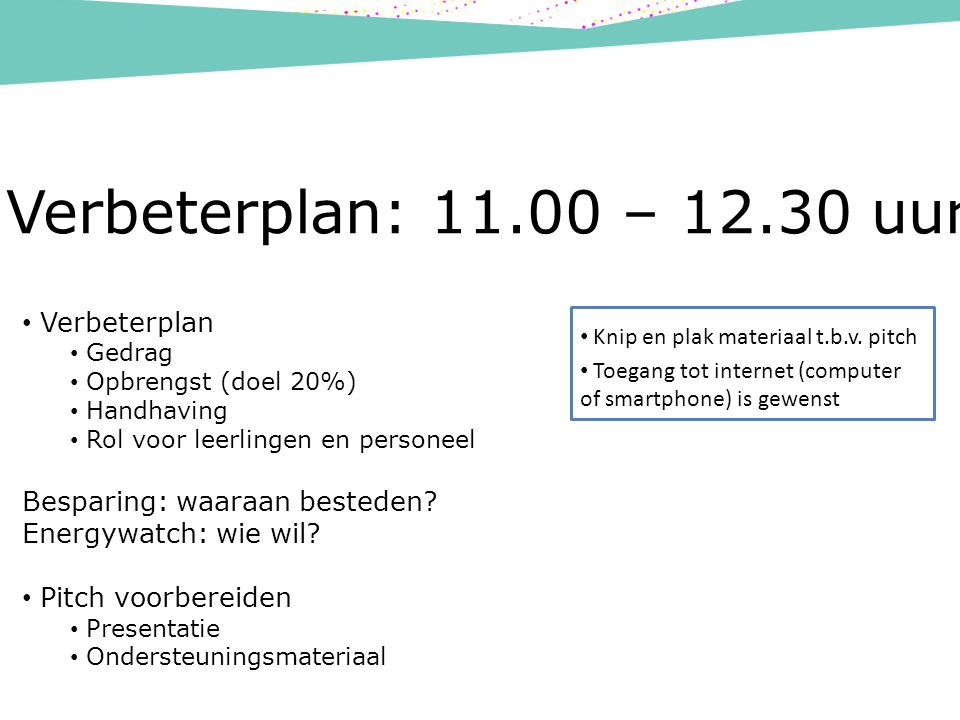 Verbeterplan: 11.00 – 12.30 uur Verbeterplan Gedrag Opbrengst (doel 20%) Handhaving Rol voor leerlingen en personeel Besparing: waaraan besteden.