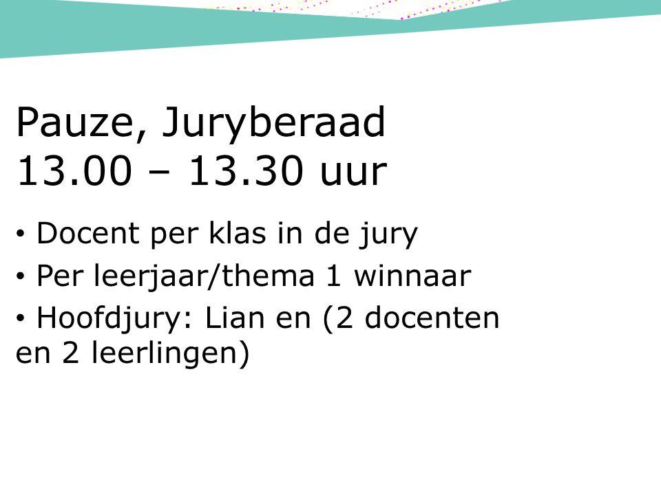 Pauze, Juryberaad 13.00 – 13.30 uur Docent per klas in de jury Per leerjaar/thema 1 winnaar Hoofdjury: Lian en (2 docenten en 2 leerlingen)
