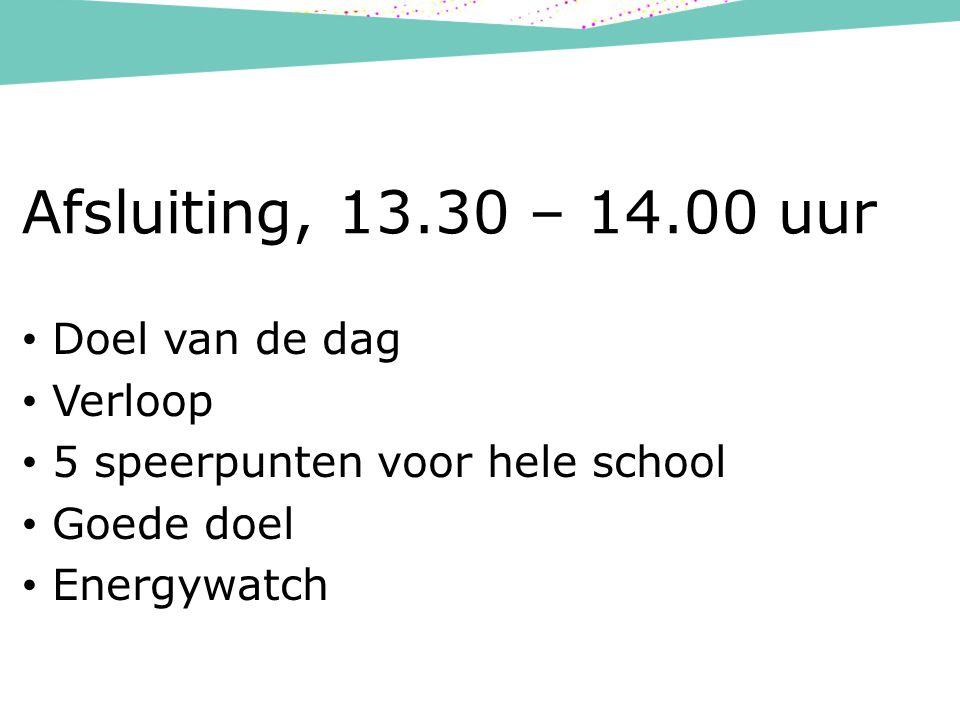 Afsluiting, 13.30 – 14.00 uur Doel van de dag Verloop 5 speerpunten voor hele school Goede doel Energywatch