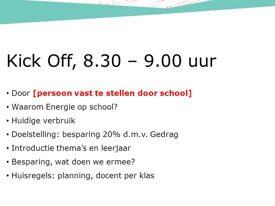 Kick Off, 8.30 – 9.00 uur Door [persoon vast te stellen door school] Waarom Energie op school.