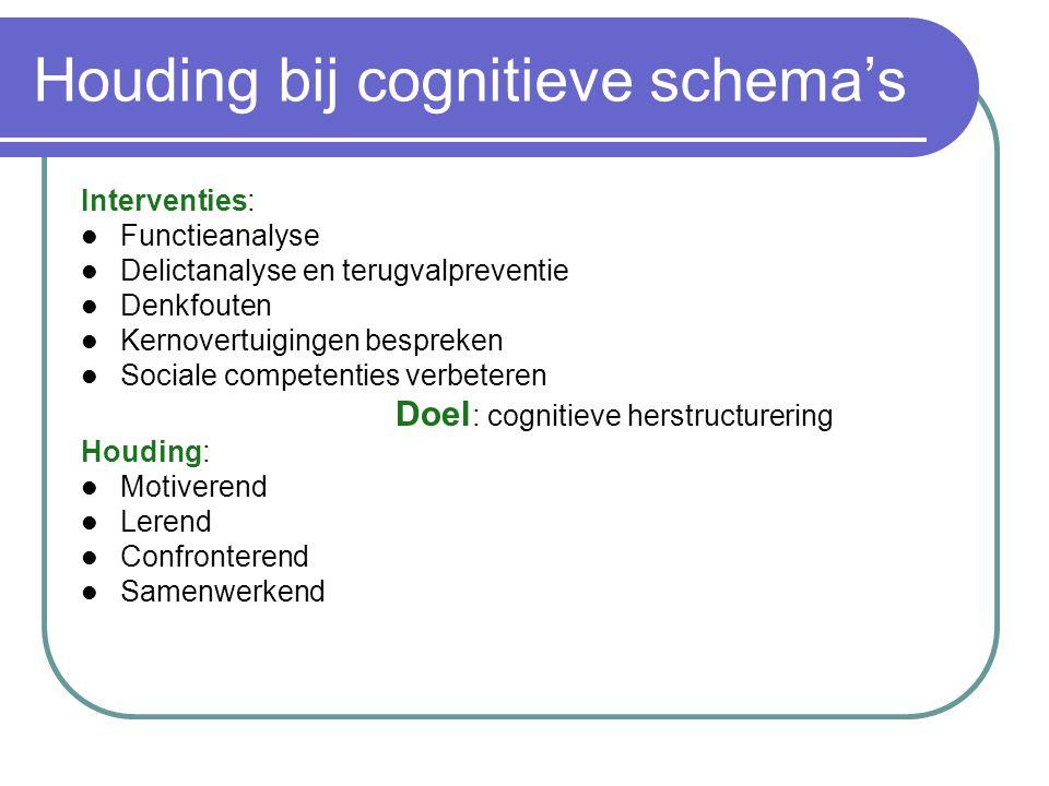 Houding bij cognitieve schema's Interventies: Functieanalyse Delictanalyse en terugvalpreventie Denkfouten Kernovertuigingen bespreken Sociale compete