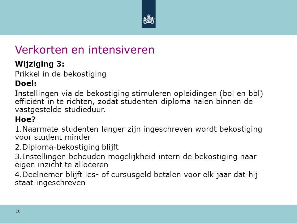 10 Verkorten en intensiveren Wijziging 3: Prikkel in de bekostiging Doel: Instellingen via de bekostiging stimuleren opleidingen (bol en bbl) efficiën