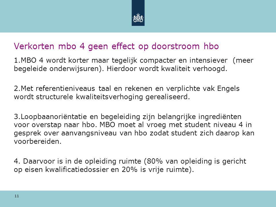 11 Verkorten mbo 4 geen effect op doorstroom hbo 1.MBO 4 wordt korter maar tegelijk compacter en intensiever (meer begeleide onderwijsuren).