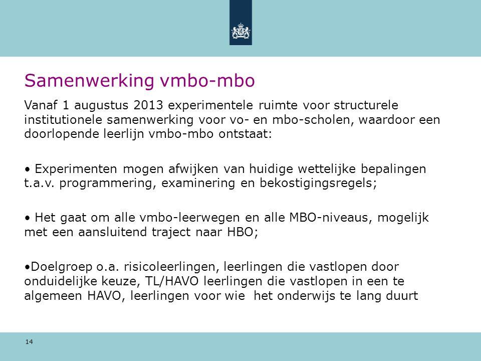 14 Samenwerking vmbo-mbo Vanaf 1 augustus 2013 experimentele ruimte voor structurele institutionele samenwerking voor vo- en mbo-scholen, waardoor een doorlopende leerlijn vmbo-mbo ontstaat: Experimenten mogen afwijken van huidige wettelijke bepalingen t.a.v.