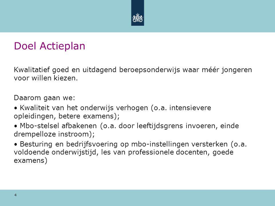 4 Doel Actieplan Kwalitatief goed en uitdagend beroepsonderwijs waar méér jongeren voor willen kiezen.