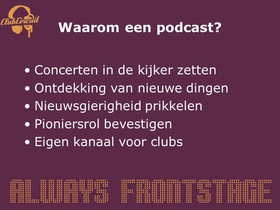 Waarom een podcast? Concerten in de kijker zetten Ontdekking van nieuwe dingen Nieuwsgierigheid prikkelen Pioniersrol bevestigen Eigen kanaal voor clu