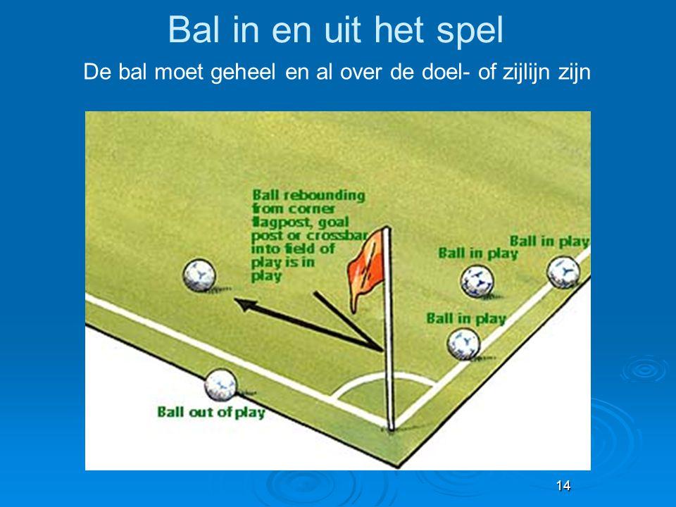 14 Bal in en uit het spel De bal moet geheel en al over de doel- of zijlijn zijn