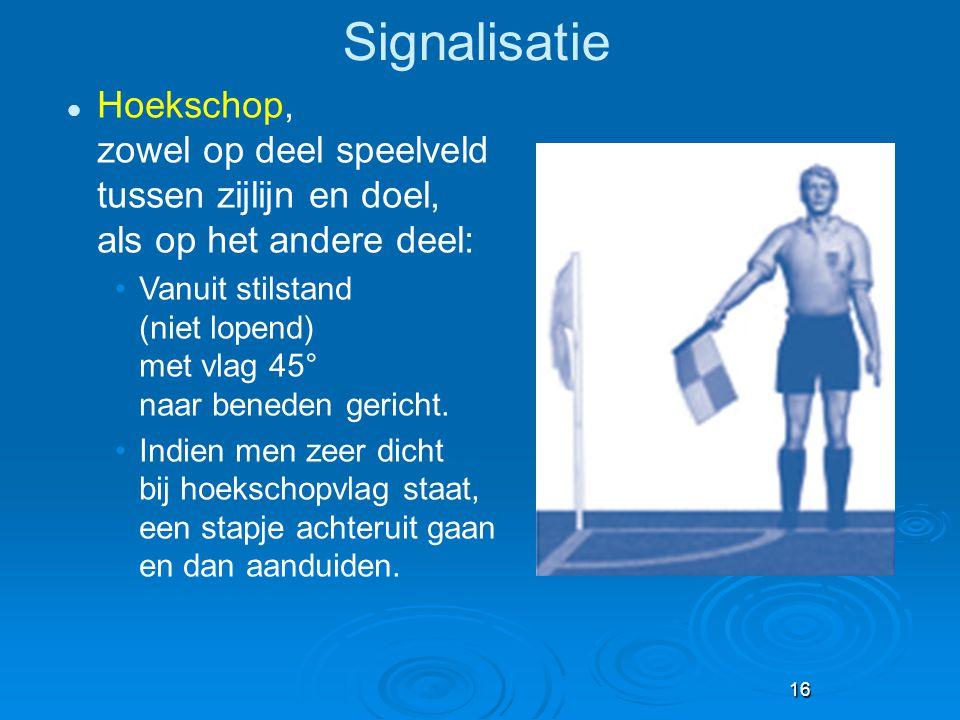 16 Signalisatie Hoekschop, zowel op deel speelveld tussen zijlijn en doel, als op het andere deel: Vanuit stilstand (niet lopend) met vlag 45° naar be