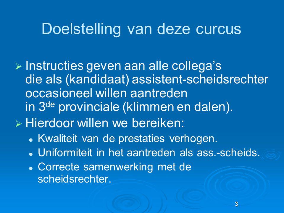 3 Doelstelling van deze curcus  Instructies geven aan alle collega's die als (kandidaat) assistent-scheidsrechter occasioneel willen aantreden in 3 d
