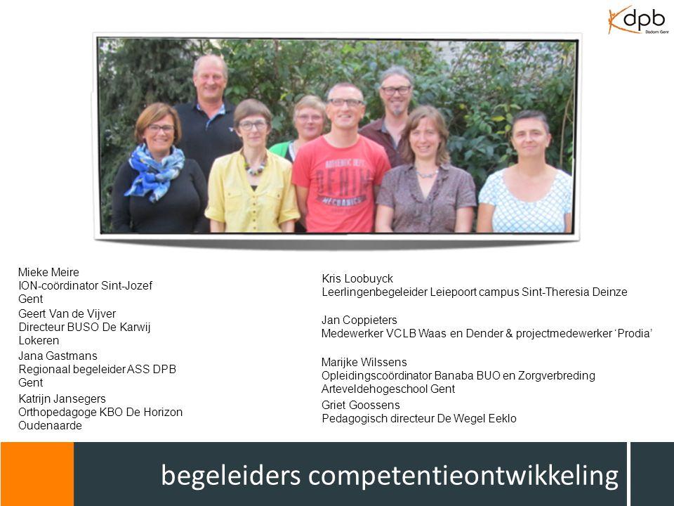 begeleiders competentieontwikkeling Mieke Meire ION-coördinator Sint-Jozef Gent Geert Van de Vijver Directeur BUSO De Karwij Lokeren Jana Gastmans Reg