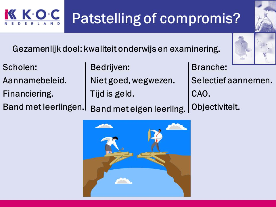 Patstelling of compromis. Scholen: Aannamebeleid.