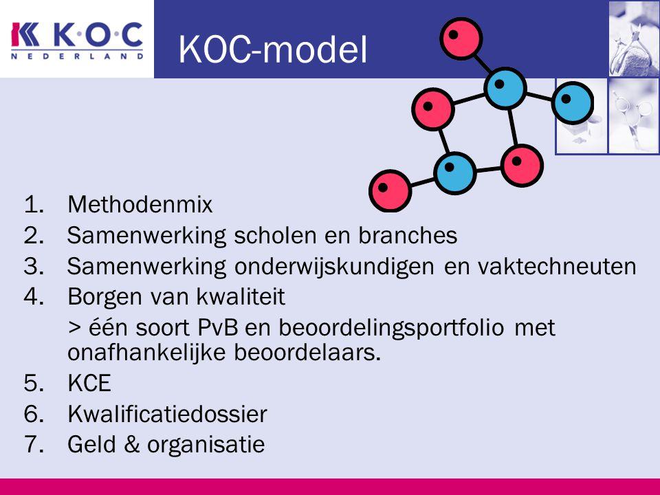 KOC-model 1.Methodenmix 2.Samenwerking scholen en branches 3.Samenwerking onderwijskundigen en vaktechneuten 4.Borgen van kwaliteit > één soort PvB en beoordelingsportfolio met onafhankelijke beoordelaars.