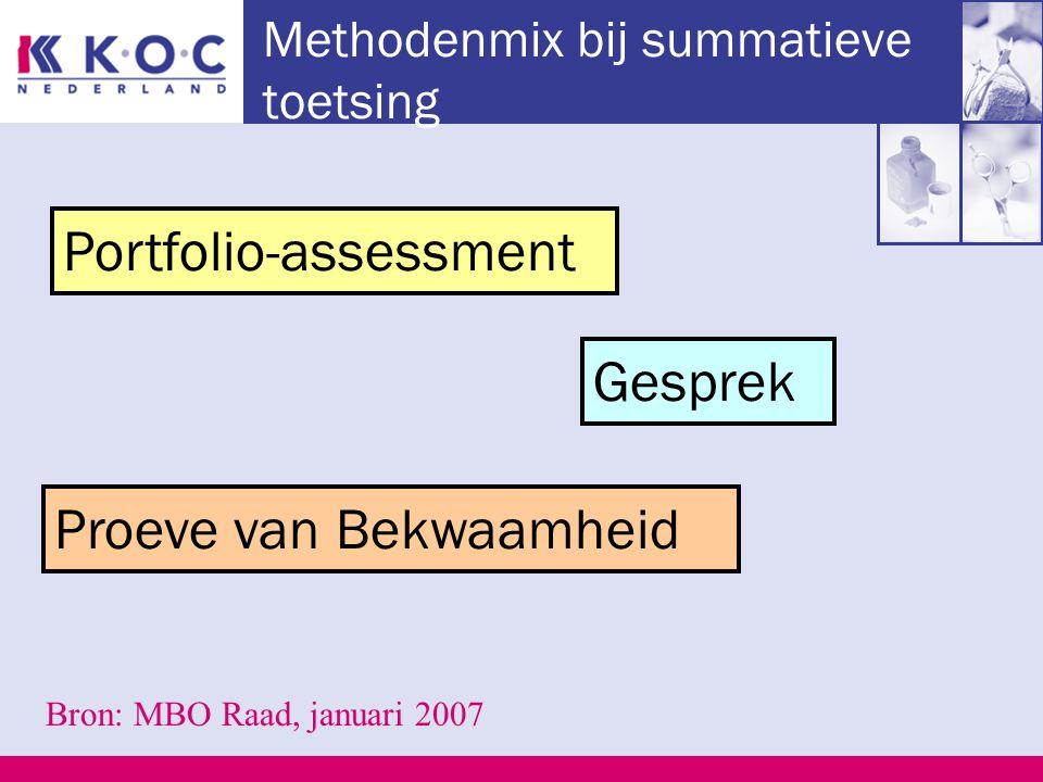 Methodenmix bij summatieve toetsing Portfolio-assessment Proeve van Bekwaamheid Bron: MBO Raad, januari 2007 Gesprek