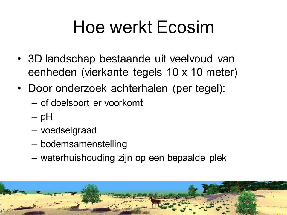 Hoe werkt Ecosim 3D landschap bestaande uit veelvoud van eenheden (vierkante tegels 10 x 10 meter) Door onderzoek achterhalen (per tegel): –of doelsoort er voorkomt –pH –voedselgraad –bodemsamenstelling –waterhuishouding zijn op een bepaalde plek