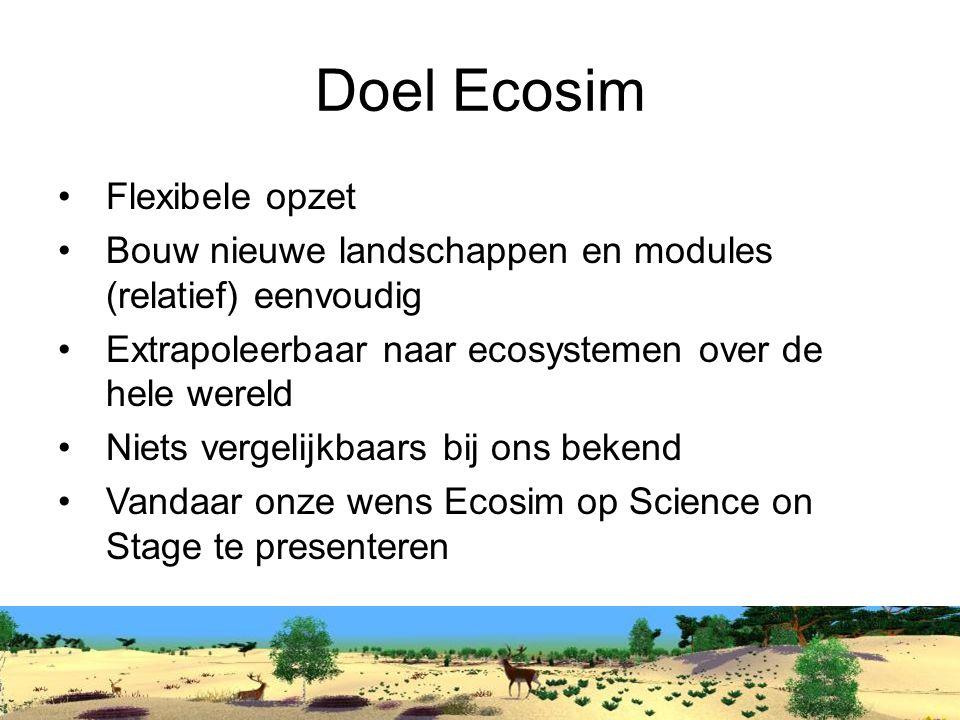 Doel Ecosim Flexibele opzet Bouw nieuwe landschappen en modules (relatief) eenvoudig Extrapoleerbaar naar ecosystemen over de hele wereld Niets vergelijkbaars bij ons bekend Vandaar onze wens Ecosim op Science on Stage te presenteren
