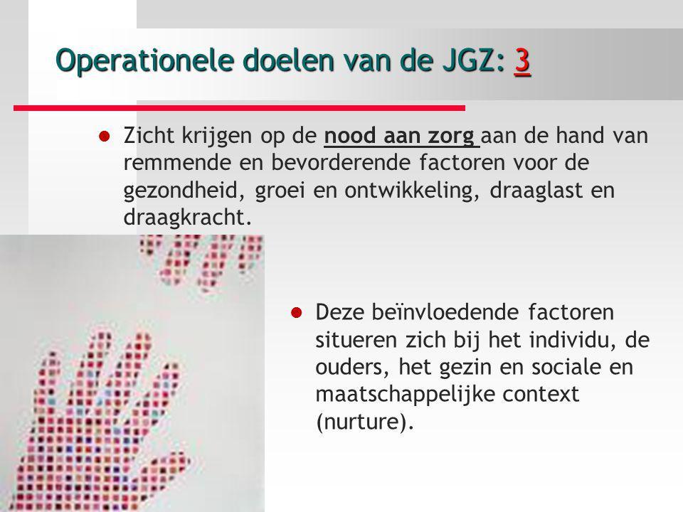 Operationele doelen van de JGZ: 3 Zicht krijgen op de nood aan zorg aan de hand van remmende en bevorderende factoren voor de gezondheid, groei en ont